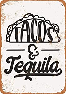 SRongmao 12 x 16 Tin Metal Sign - Vintage Look Tacos and Tequila