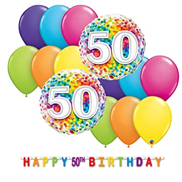 50th Birthday Decorations Bundle With Foil Balloons