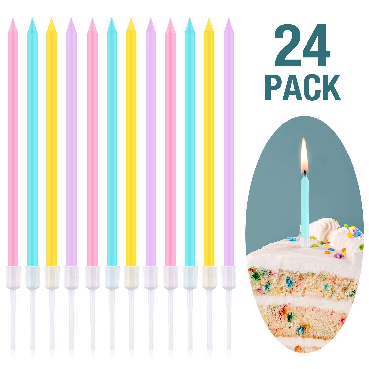 Frienda Metallic Birthday Cake Candles In Holders Long Thin Cupcake Wedding Party Decorations Pink Yellow Blue And Purple