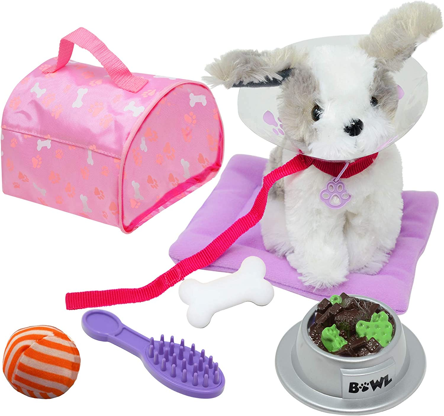 NEW YORK DOLL COLLECTION Plush Puppy Dog Accessories Play Set for 18 inch Dolls - Pet Accessory Set fits American Girl Dolls