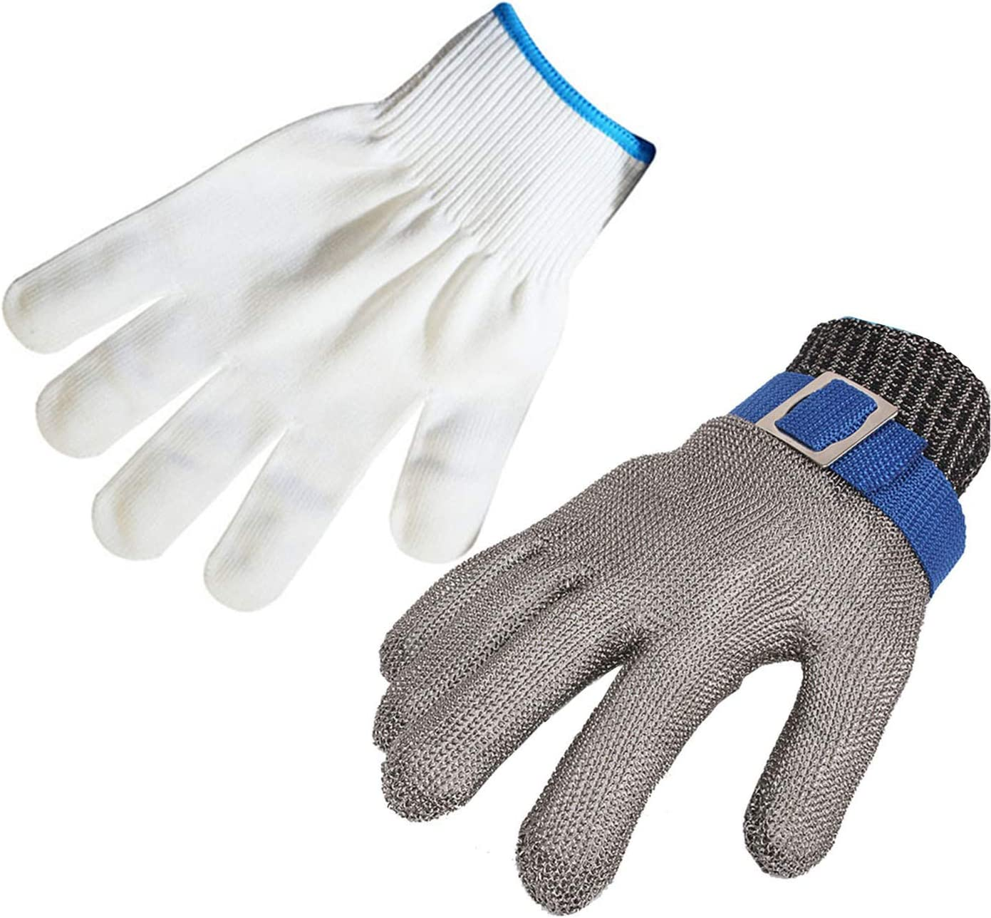 ThreeH Protective Gloves for Cutting Chopping Slicing Meat Processing Stainless Steel Cut Resistant Gloves GL09 L(One piece)