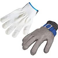 ThreeH Safety Protective Gloves Stainless Steel Mesh Gloves for Cutting Oyster Shucking Work Gloves GL09 XXL(One piece)