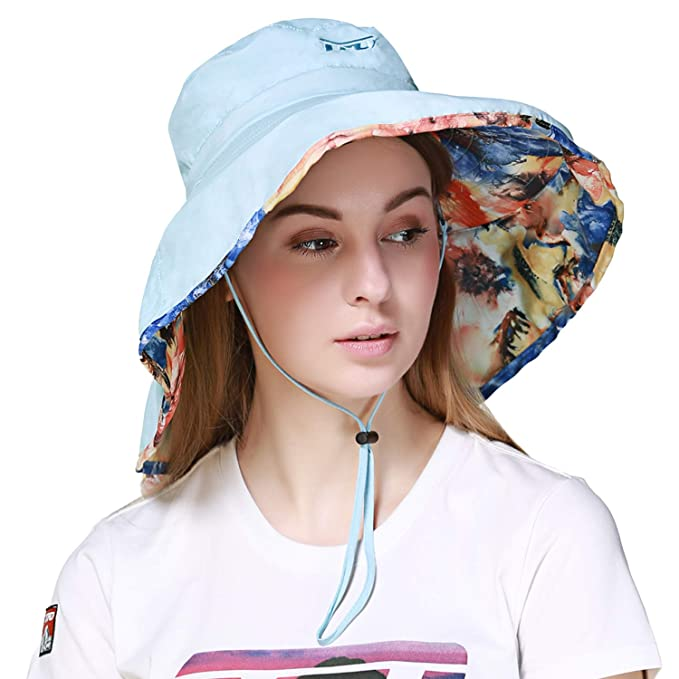 75841fc0f6d5b8 TFO Women's Packable UV Protection Sun Hats Large Brim Foldable Fishing  Hiking Beach Cap With Adjustable
