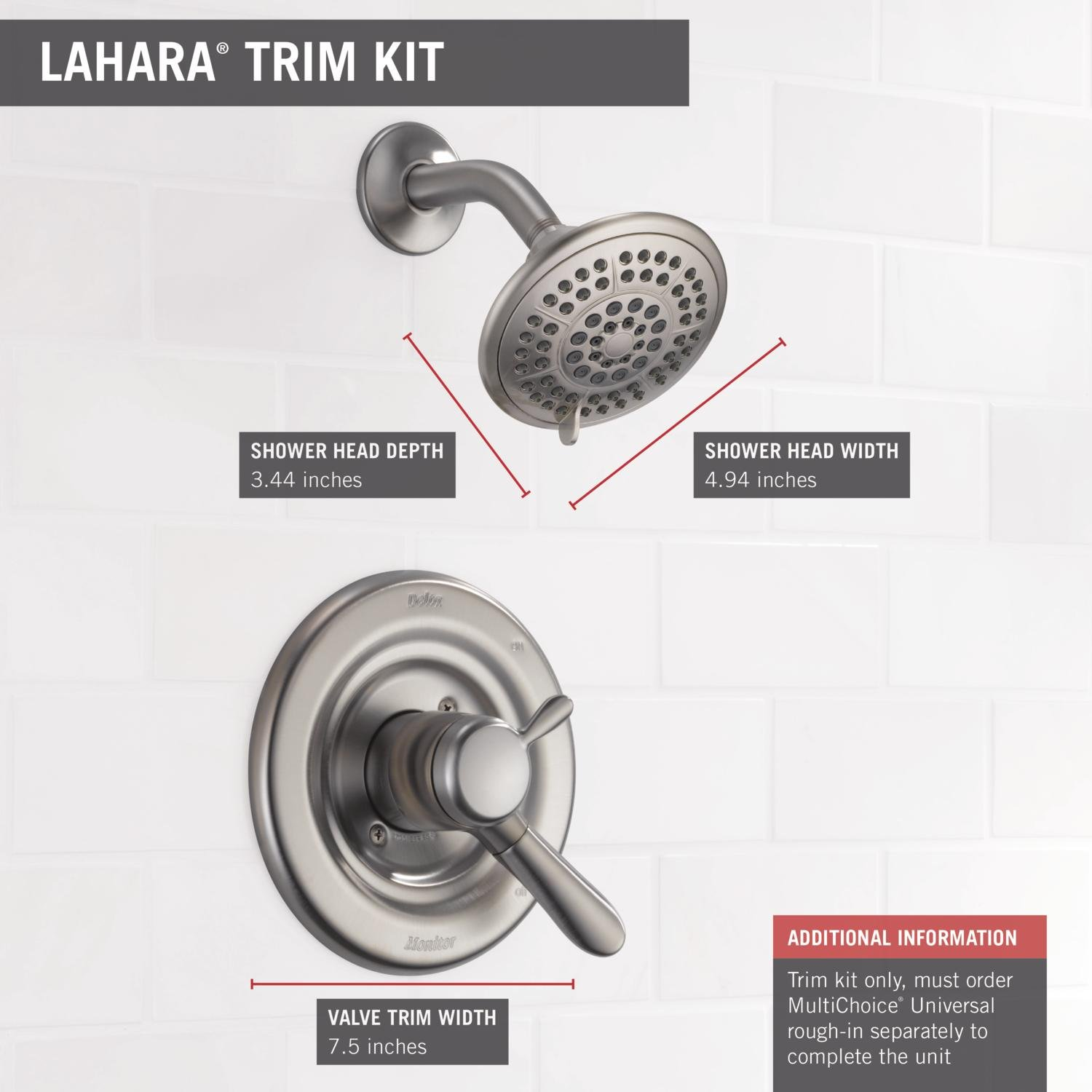 Exceptionnel Delta T17238 SS Lahara 17 Series Dual Function Shower Trim Kit With 5 Spray  Touch Clean Shower Head, Stainless (Valve Not Included)   Shower  Installation ...