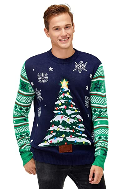 Mens Christmas Novelty Funny Jumper LED Flashing Light Up Xmas Sweater Top New