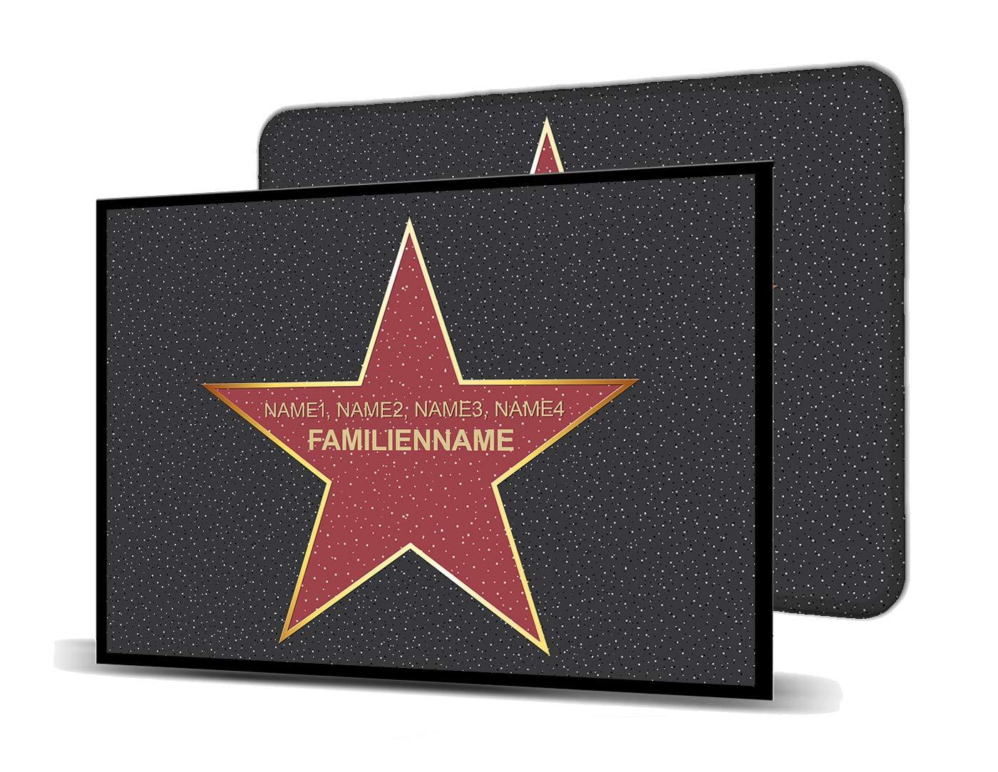 Printalio Wunschtext - Walk of Fame - Schmutzmatte Bodenvorleger Fußmatte Türmatte Abtreter Abstreifer gummierter Rand Rutschfest Waschbar individuell   145 cm x 85 cm