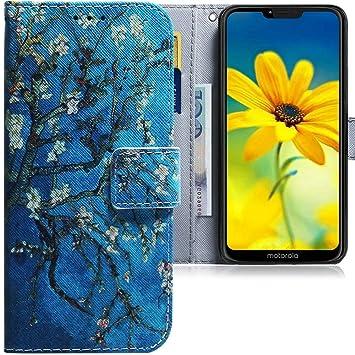 CLM-Tech Funda Compatible con Motorola Moto G7 Power, Carcasa Cuero sintético con Soporte y Ranuras para Tarjetas, Árbol Azul