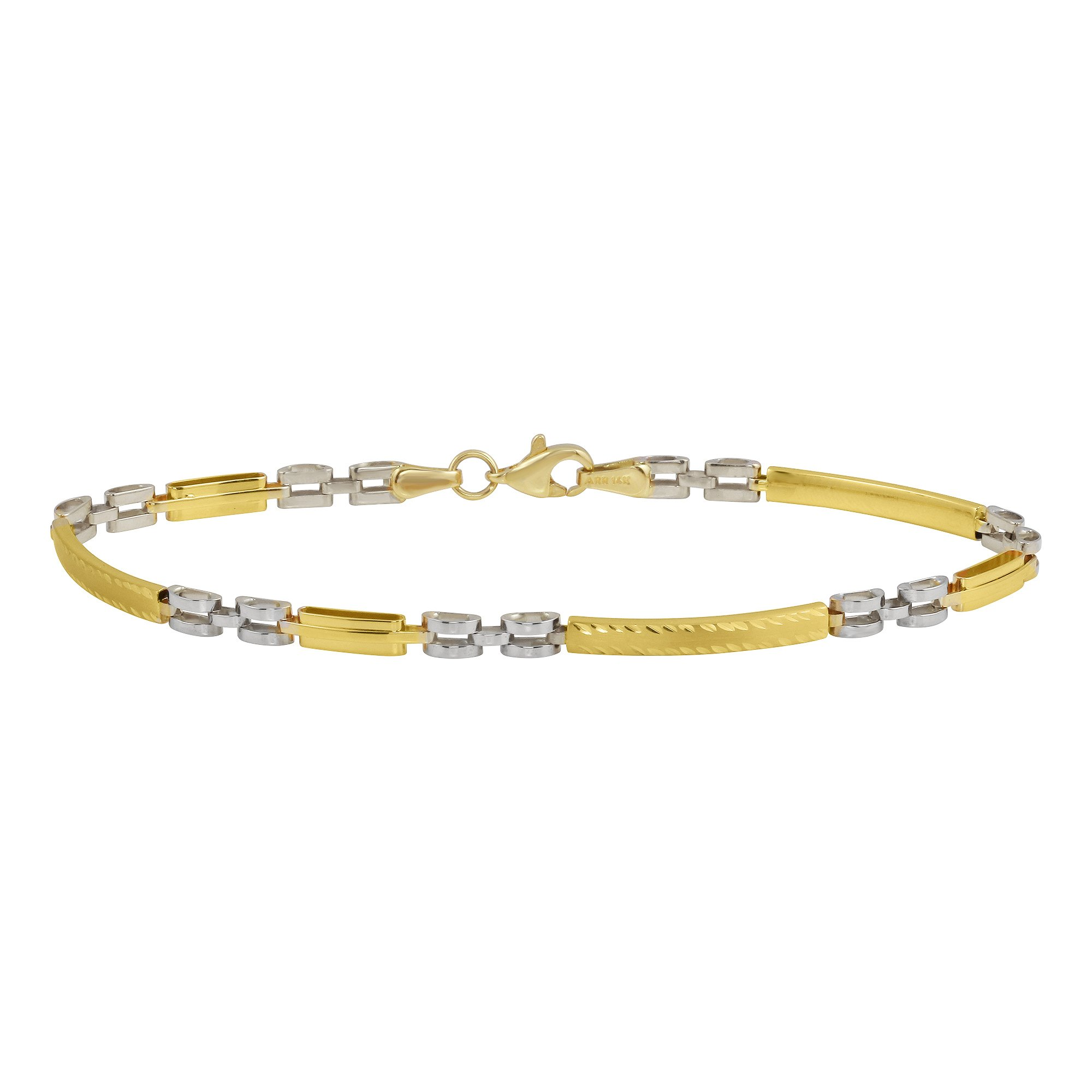 Textured 14k Yellow and White Gold Modern Stampato ID Love Bracelet