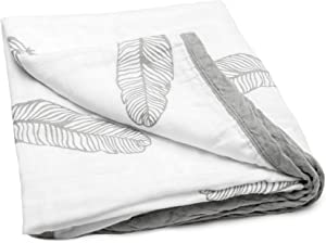 """JoLayLe Baby Muslin Quilt- Extra Soft 100% Cotton Muslin Baby Blanket for Boys & Girls, 47""""x 47"""" Gender Neutral Feathers Baby Quilt, Registry Gift"""