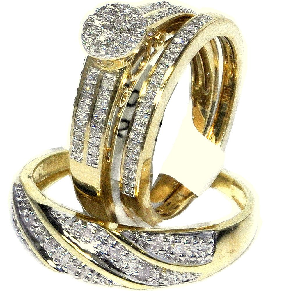 His and Her Trio Rings Set 0.3cttw Diamonds 10K Yellow Gold Pave Set 3pc set(I/jColor, 0.3cttw) by Midwest Jewellery (Image #2)