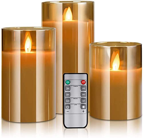 LED Flameless Candles Flickering with Remote Control and Timer, 4 5 6 Set of 3, Battery Operated Electric Candles with Moving Wick Dancing Flames, Real Wax Pillar Candles with Glass Shell