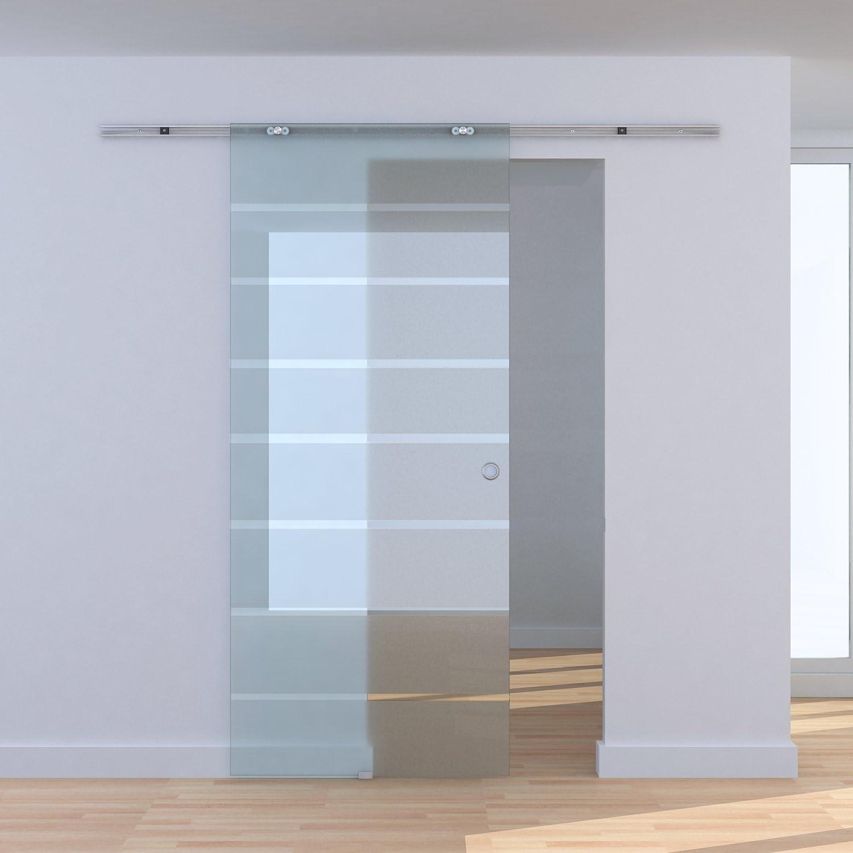 Homcom 04 - Puerta corredera de cristal templado satinado con diseño de rayas y raíl de aleación de aluminio 78 x 205 cm: Amazon.es: Bricolaje y herramientas