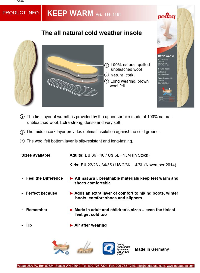 Pedag Keep Warm All Natural Insulating Wool Insoles, US 11M/EU 44, 2 Pair