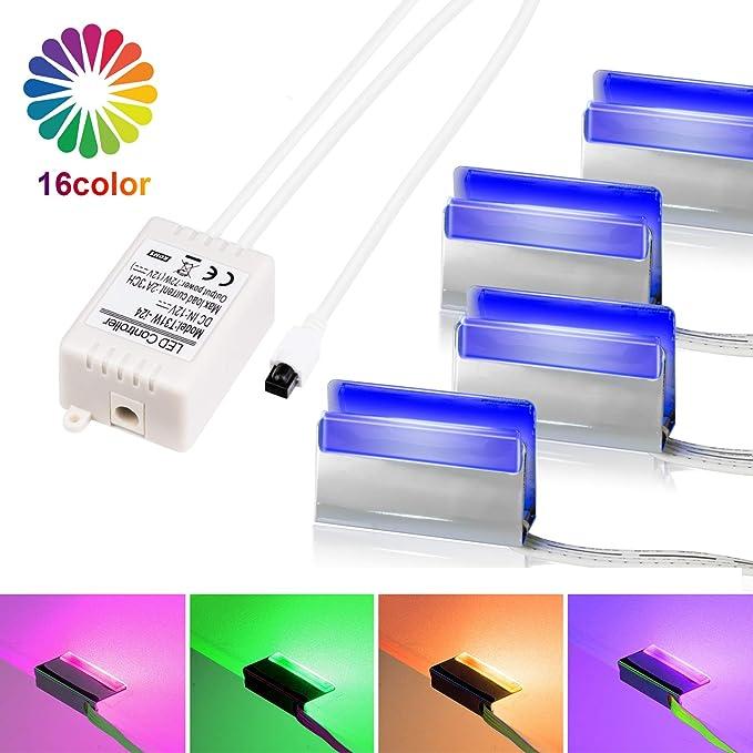 LED Glasbodenbeleuchtung, LED Vitrinenbeleuchtung 4er Set Glaskantenbeleuchtung LED Clip RGB LED Farbwechsel Schrankbeleuchtu