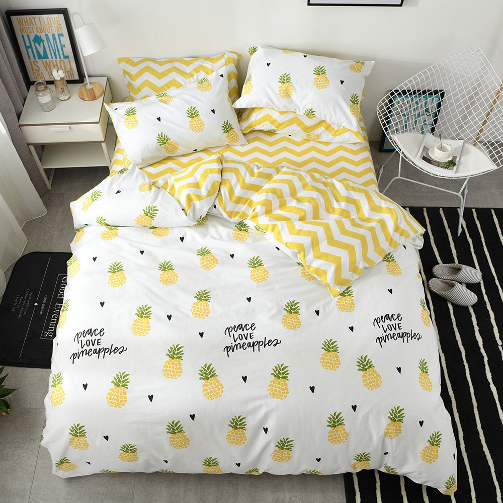 Pineapple Duvet Cover Queen Kids Yellow Bedding Sets Queen Cotton Boys Bedding Comforter Cover Full for Teen Girls White Bedding Duvet Cover with 2 Pillow Shams Fruits Stripe Quilt Cover, No Comforter