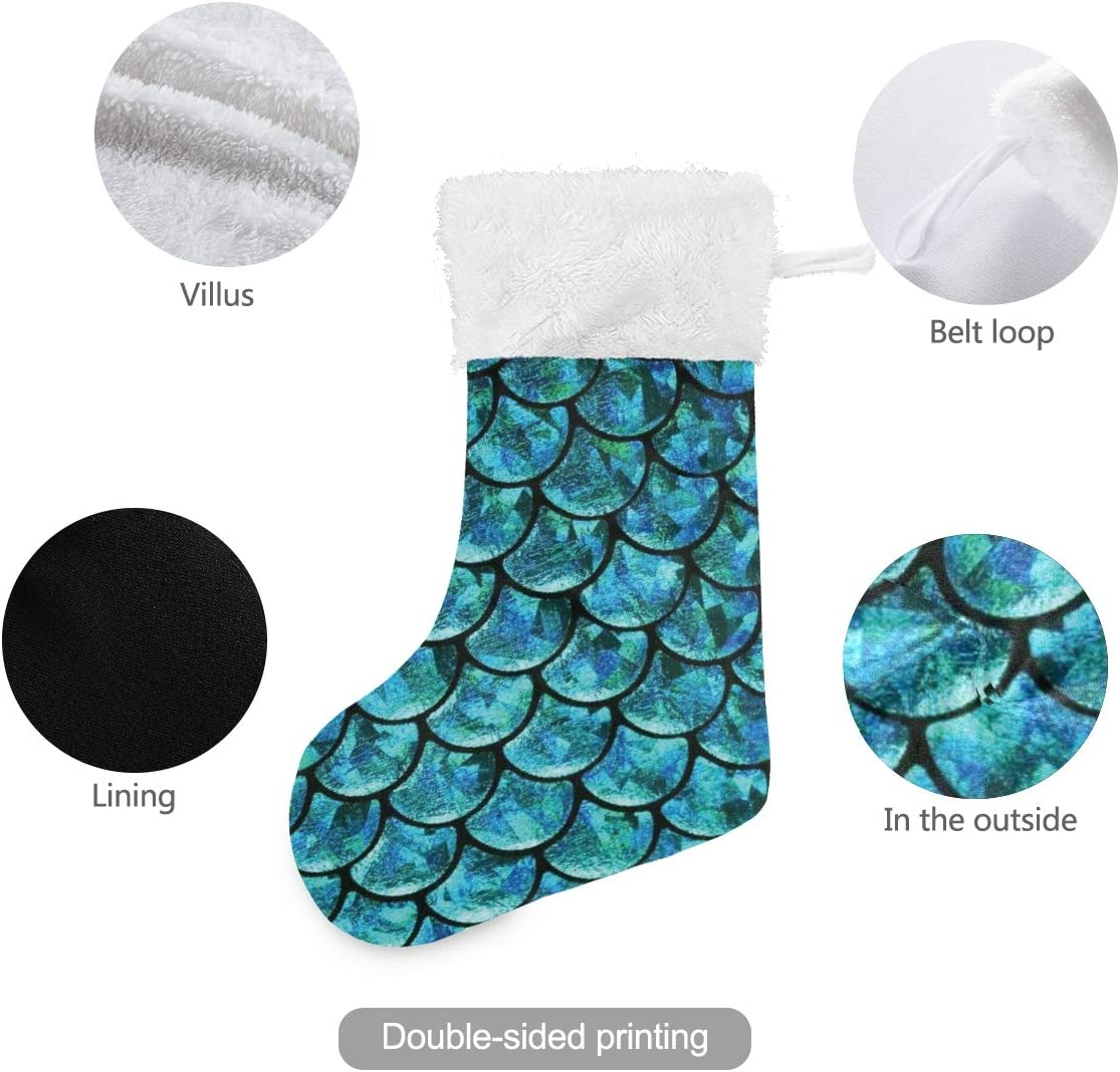Chaming Pastel Mermaid Christmas Holiday Stockings Xmas Fireplace Hanging Stockings Decorations and Party Accessory Set 1