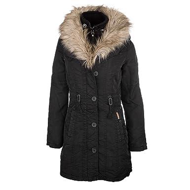 Khujo Monique with Inner Jacket Negro - Larga Abrigo para Mujer con Pelo Negro Small: Amazon.es: Ropa y accesorios