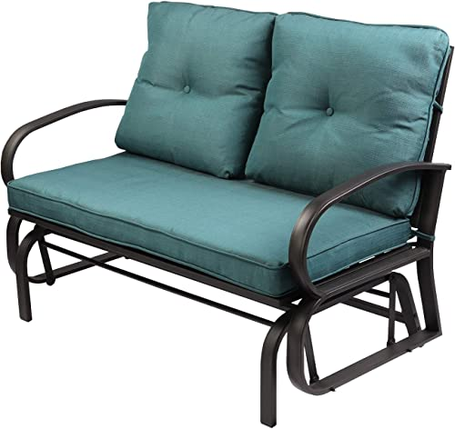 Aoxun Patio Loveseat Outdoor Patio Glider Rocking Bench,Porch Furniture Glider,Wrought Iron Chair Set