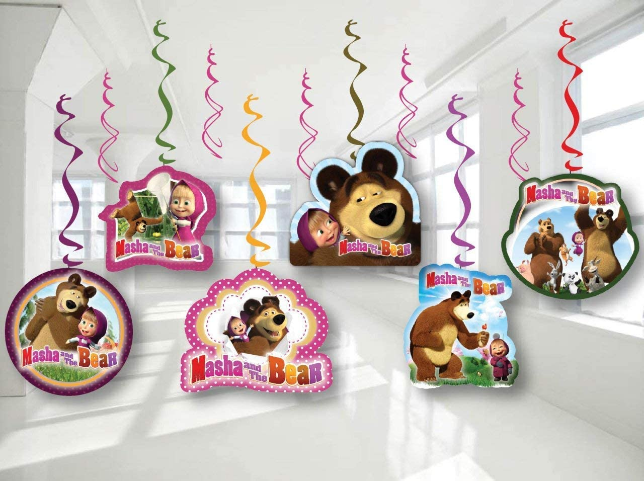 Masha and the bear Birthday Party Decor, Hanging Decoration Swirls, Package of 12 Assorted Set