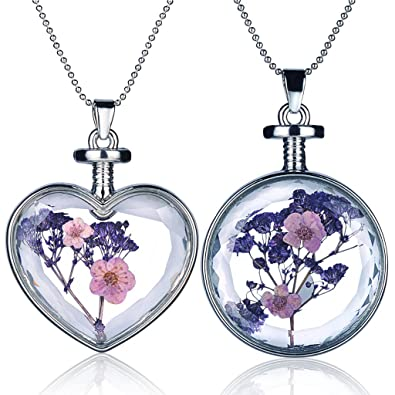 Queen Anne's Lace Forget Me Not Real Dry Flower Heart Glass Bottle Pendant Necklace Gift NUWUd9ZwWz