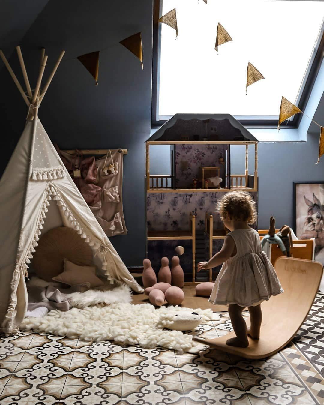 Boho style kids tipi, childrens teepee tent, kids teepee tent, play tent, teepee for kids, beige color playhouse 100% handmade! by MINICAMP (Image #8)