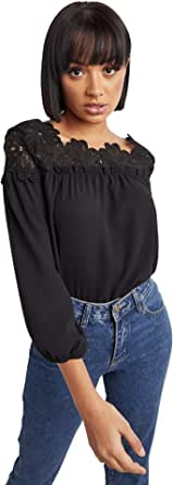 Lace Yoke Detail Long Sleeves Top For Women Closet by Styli