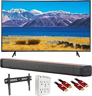 SAMSUNG UN65TU8300 65-inch HDR 4K UHD Smart Curved TV (2020 Model) with Deco Home Soundbar Bundle