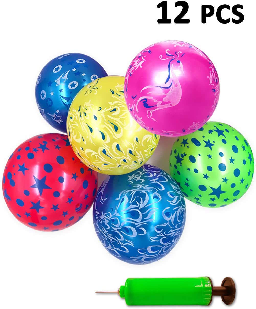 Mimgo-shop Party Favors Inflatable Beach Balls with Pump Outdoor Park and Beach Ball Toys for Adults and Kids Birthday 12 pcs