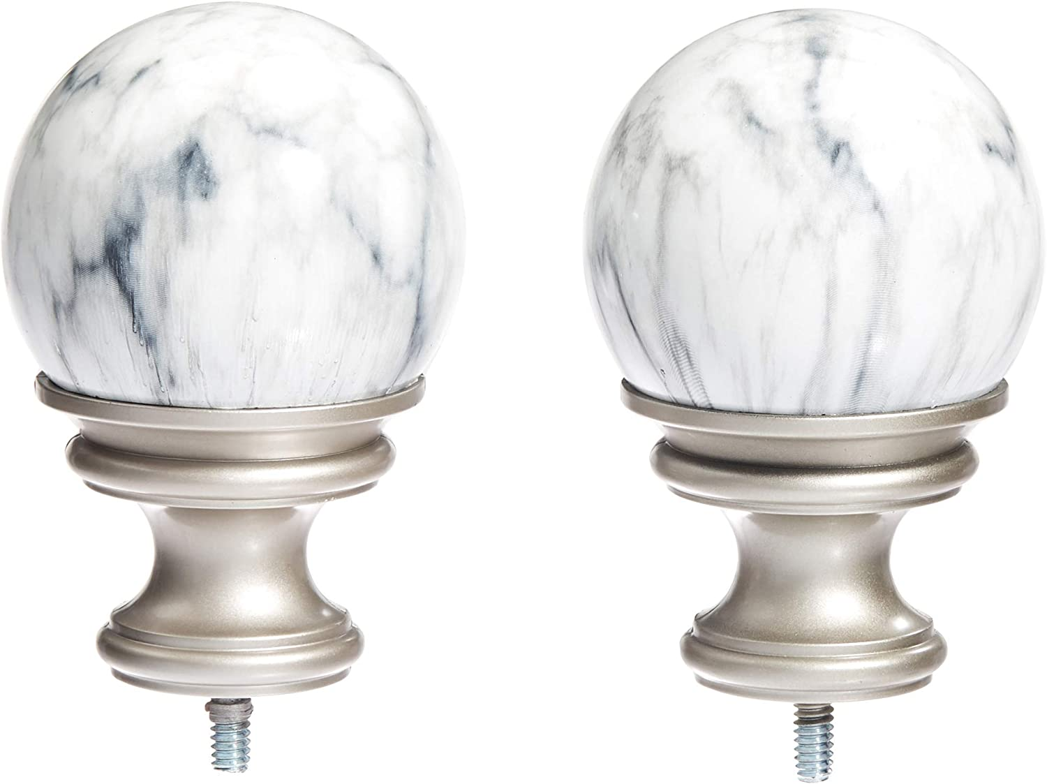 Amazon Com Amazon Basics White Marble Ball Curtain Rod Finials Set Of Two Nickel Home Kitchen