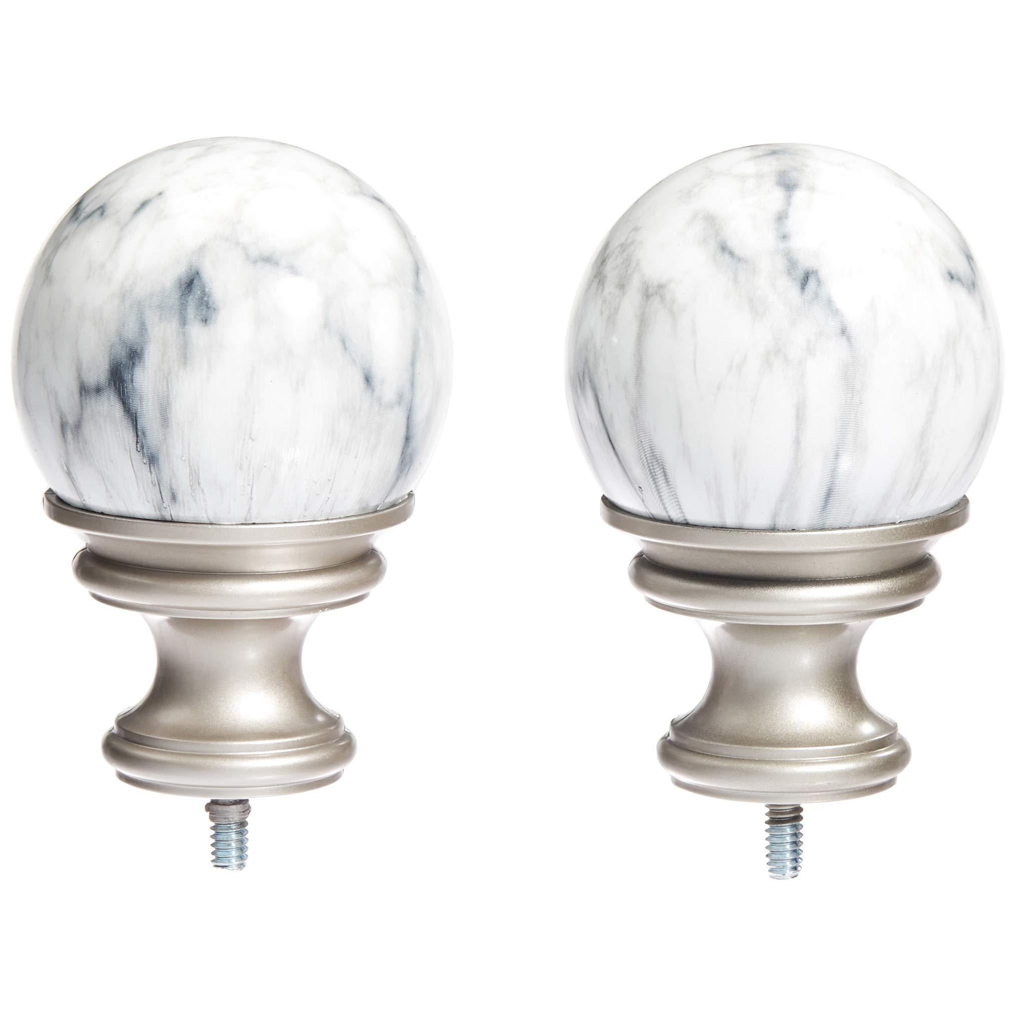 AmazonBasics White Marble Ball Curtain Rod Finials, Set of Two, Nickel by AmazonBasics