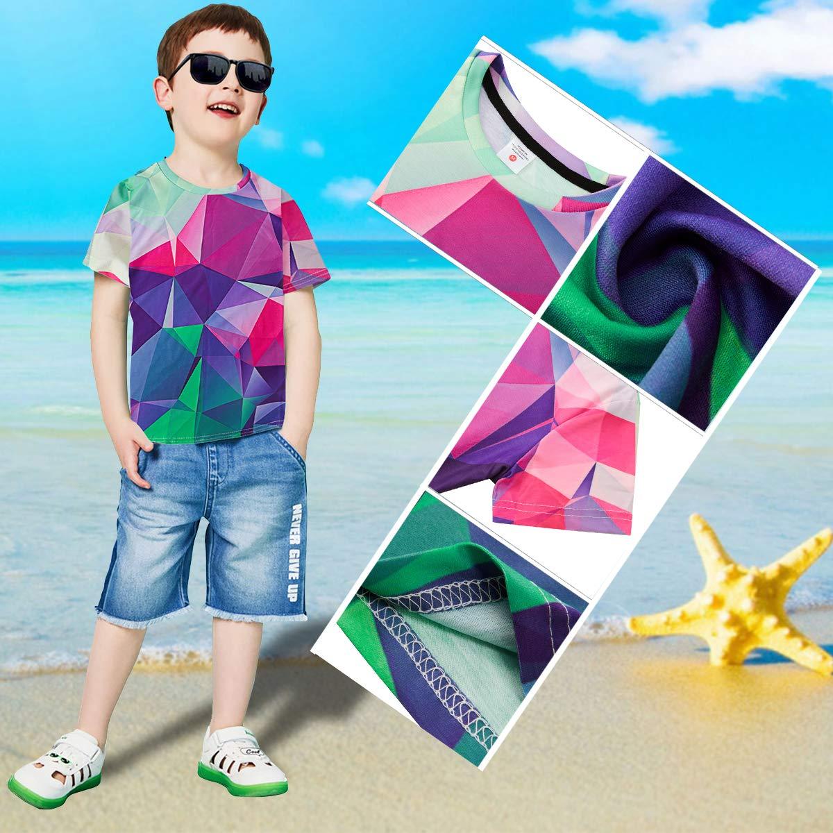 RAISEVERN Große Kinder T-Shirts Kurzarm Geometrisch Gedruckt Kleidung Stilvolle Rundhals T-Shirt T Tops für 12-13Years Girl Boy