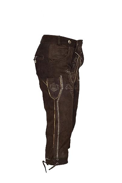 925408962f372 TR Martha Pantalon traditionnel bavarois  (Oktoberfest ) en cuir pour homme  avec bretelles marron foncé - longueur   genoux - tailles   46 à 60 Cadeaux  De ...
