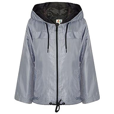 1c5a018a4 Amazon.com  Kids Girls Boys Silver Hooded Raincoat Cagoule ...