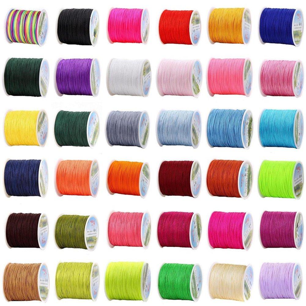 Chinese Knotting Cord - 0.8mm 100M/Roll Shamballa Macrame Nylon Braided Cord String Thread DIY Braided Rope (Mix 29 Rolls) by zhengjun (Image #1)