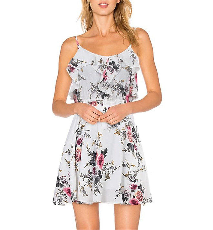 Amazon.com: Suppliesed Floral Gasa de Las Mujeres Vestido Blanco de La Colmena Del Hombro Correa de Espagueti: Clothing