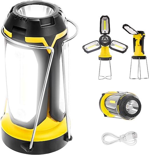 Fulighture Lámpara LED para camping, recargable por USB, con banco de energía y soporte, multifunción, portátil y plegable, 6 modos de luz para ...