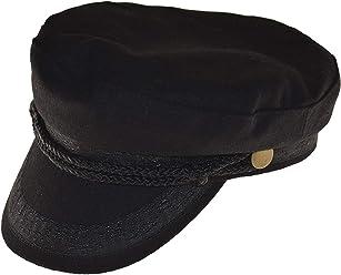 23d456afc68 Broner Wool Blend Fisherman Cap Greek Sailor Hat in Black with Gold Button