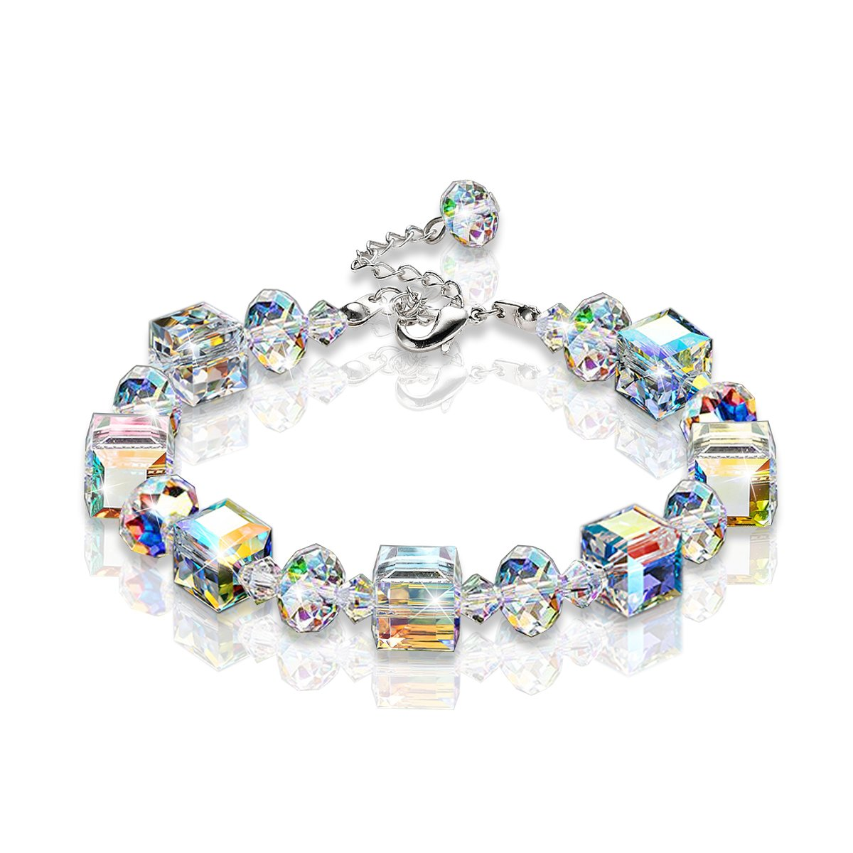 "KesaPlan Bracelet ""A Little Romance"" Adjustable 7'' - 9'' Crystal Stretch Bracelet Made with Swarovski Crystal"