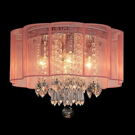 Dst Modern Chandelier Pink Shade Flush Mount Crystal Ceiling Light
