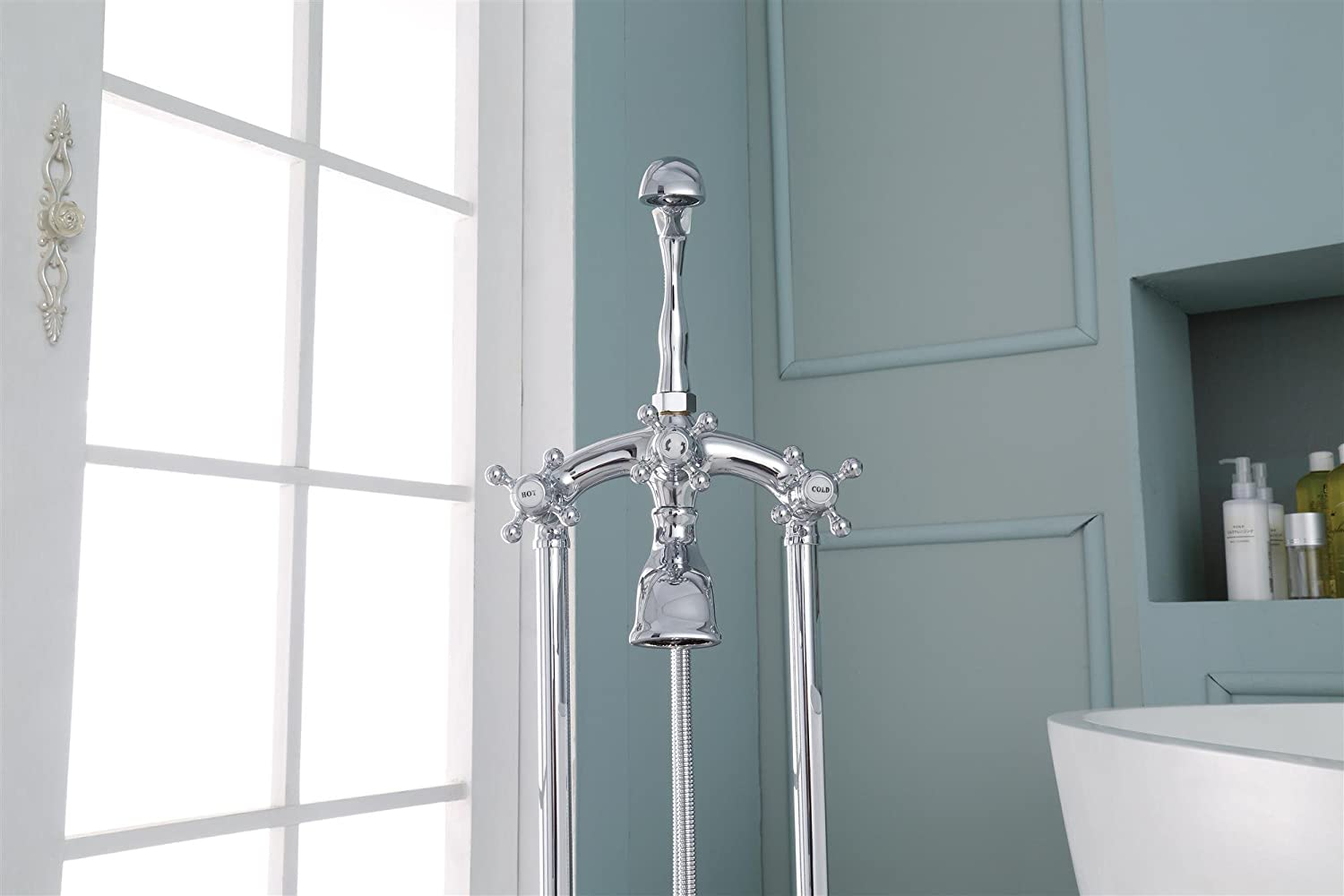 Ariel 3-Handle Freestanding Claw Foot Tub Faucet With Hand Shower In ...