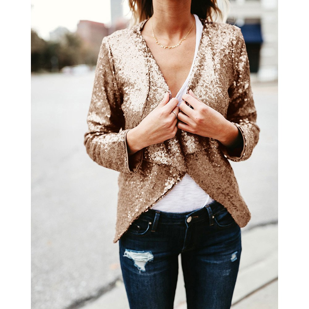 POHOK Women Long Sleeve Solid Sequined Irregular Cardigan Tops Cover Up Coat