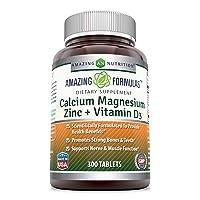Amazing FormulasCalcium Magnesium Zinc+ D3-300Tablets Per Bottle(Calcium 1000mg...
