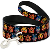 Buckle-Down Toy Freddy/Bonnie/Chica Heads Repeat Black Pet Leash, 6'-1/2""
