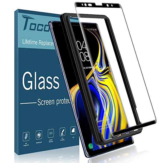 TOCOL Screen Protector for Samsung Galaxy Note 9, Tempered Glass [Case  Friendly][Alignment Frame Easy Installation][3D Curved][Full Coverage] with