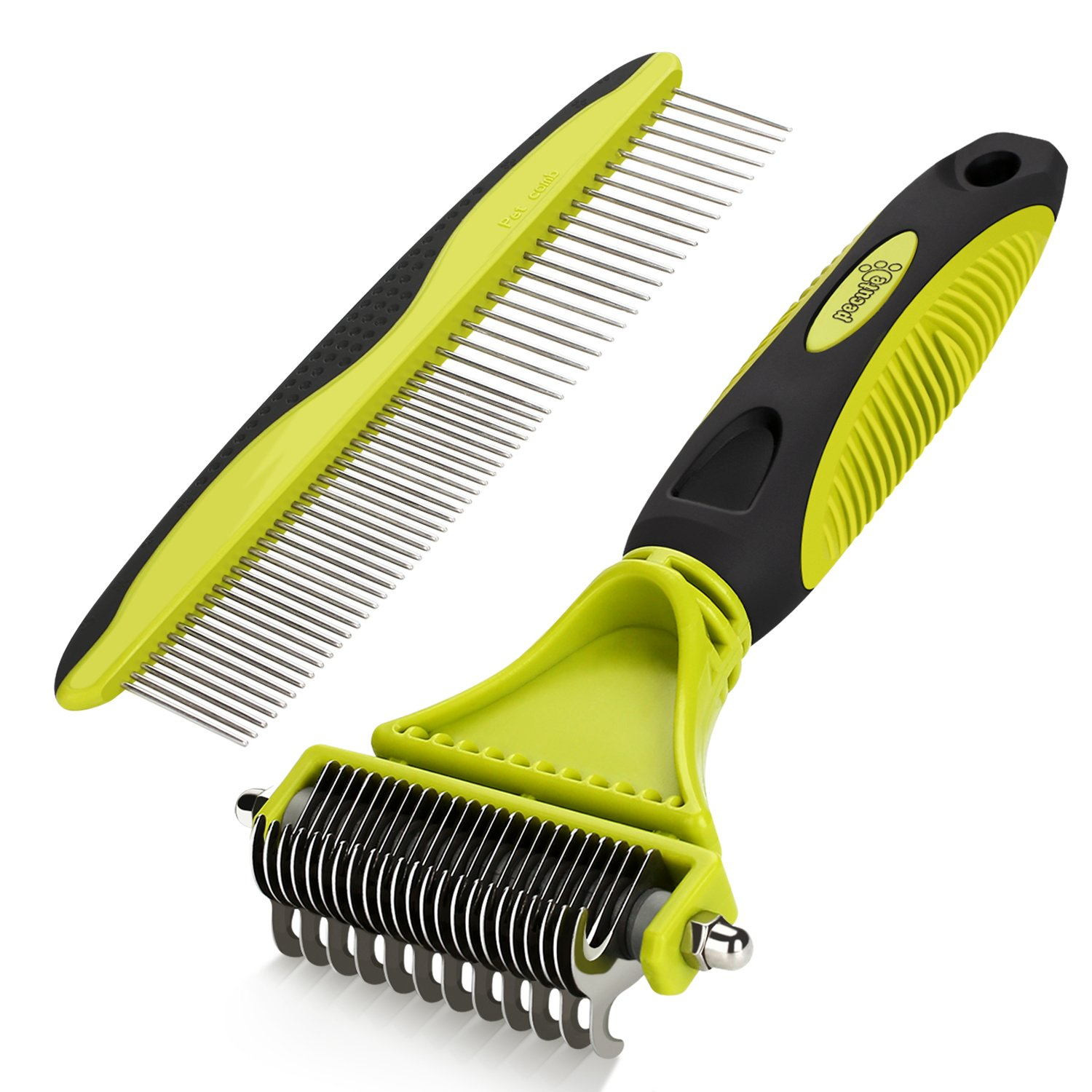 Dematting Comb Grooming Tool Kit for Dog & Cat Double Sided Blade Rake Comb with Grooming Brush Loose Undercoat, Mats, Tangles and Knots Removal for Long Thick Short Pet