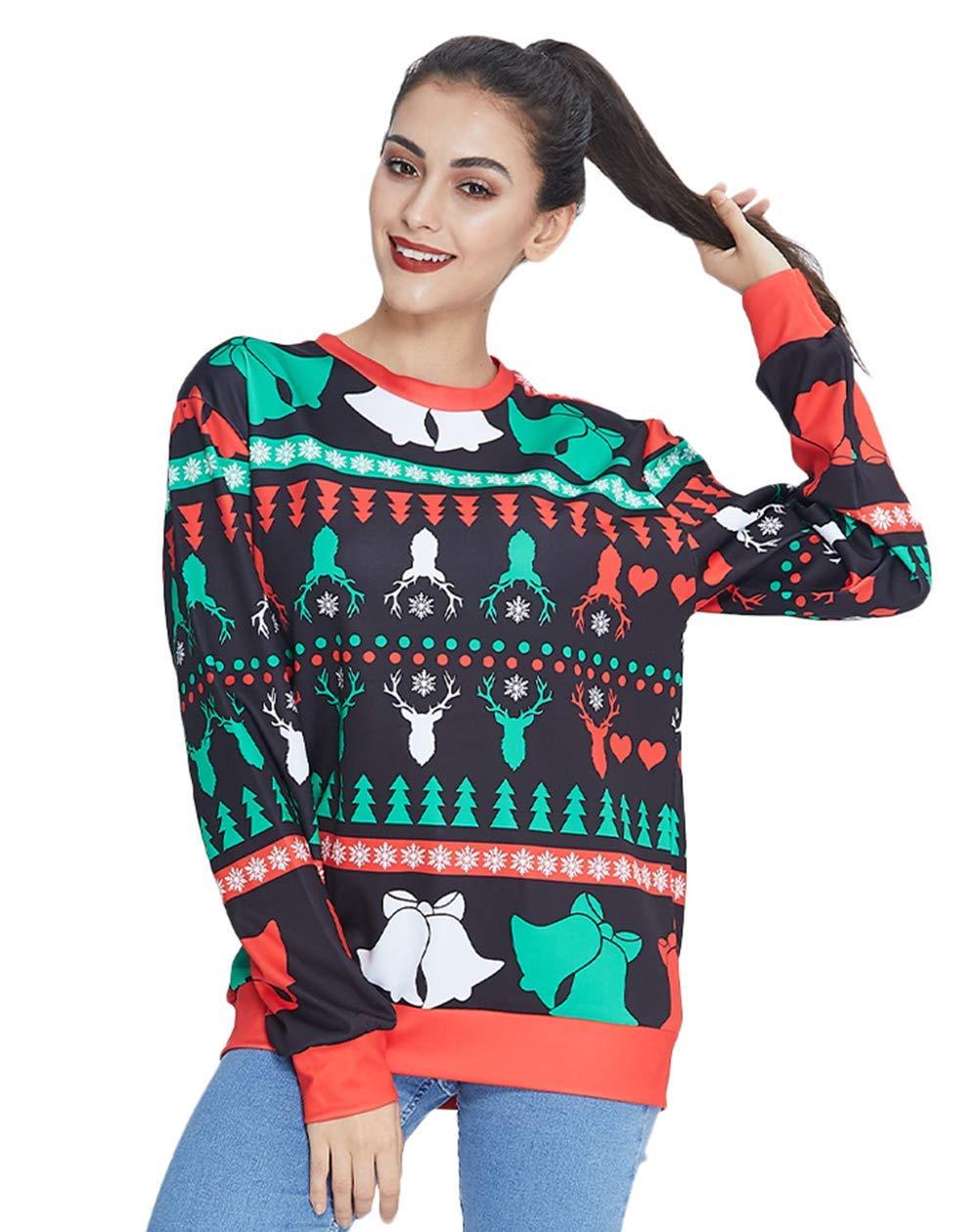 RAISEVERN Unisex Männer Frauen 3D Cute Christmas Reindeer Pullover Rundhals Xmas Pullover mit Langarm Slim Fit Sweatshirt für den täglichen Gebrauch/Festliche Party/Holiday Game