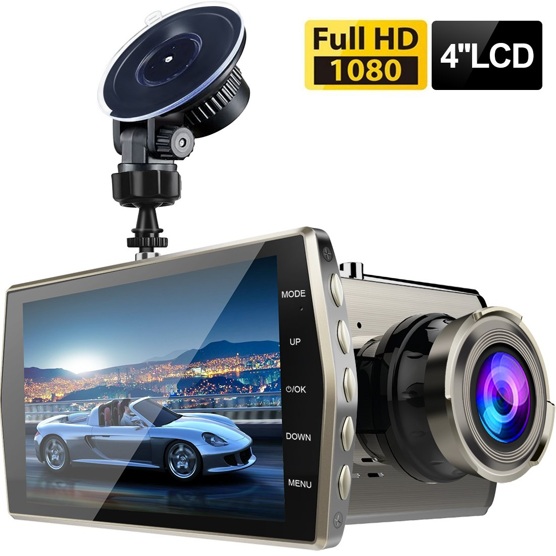 Dash Cam,Zintou Car Dash Cam Big 4'' LCD FHD 1080p 170 Degree Wide Angle Dashboard Camera Recorder with G-Sensor,NightHawk Vision,WDR, Loop Recording