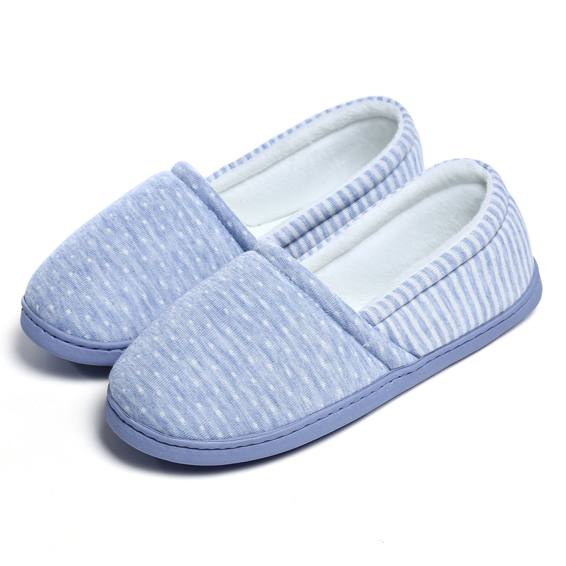 ChicNChic Women Comfortable Cotton Home Slippers Soft Sole Slip on Indoor House Shoes (8.5-9 B(M) US, Blue)