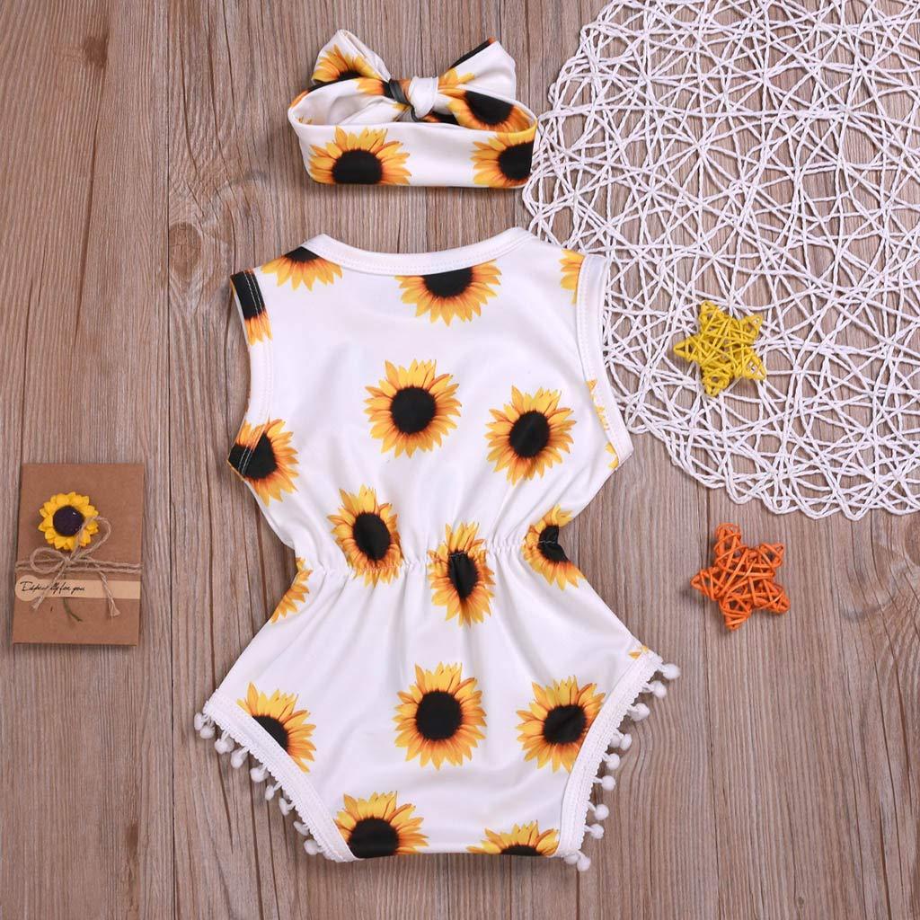 Cuekondy Newborn Toddler Baby Girls Sunflower Print Summer Clothes Outfit Sleeveless Tassel Romper Bodysuit+Headband