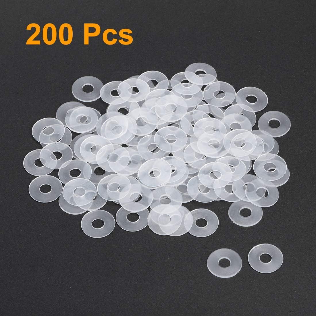 Sourcing map Lot de 200 rondelles plates en nylon blanc pour vis boulons